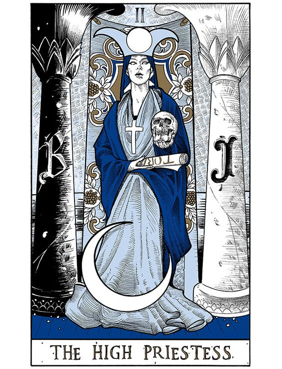 Arcana: The High Priestess Letterpress Tarot Card by Andy Manthei — Kickstarter Any Brother will recognize those pillars.