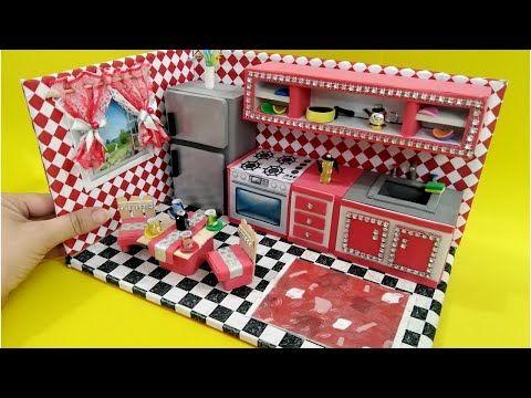 مطبخ مصغر بالكرتون وورق الفوم 2 مطبخ باربى Diy Miniature Kitchen For Barbie Dollhouse Diy Youtube Miniatures