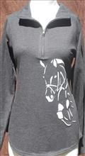 Grand Prix Ladies 1/4 Zip Smoke Grey French Terry Pullover #AT92 $44.94 - $49.95