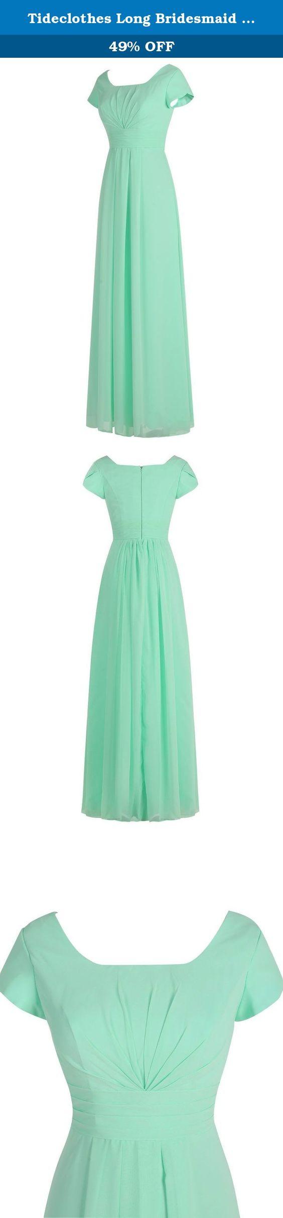 Tideclothes long bridesmaid dress chiffon prom evening dress short