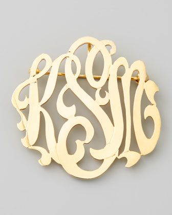 Gold-Plated Script Monogram Pin - Moon and Lola by: Moon and Lola