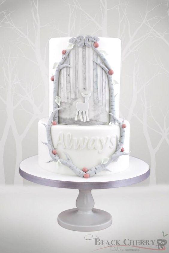 Harry Potter Patronus Wedding Cake by Black Cherry Cake Company