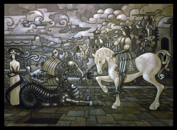 San Giorgio con drago e principessa  (olio su tela) Paolo G.Barozzi