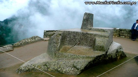 """Intihuatana: perfectly modeled on the highest peak of a natural rock. """"Inti"""" means """"sun"""" and """"Huatana"""" """"trap"""", a rock to tie the sun. It was an altar to worship the  highest visible god, the Inti. Peruvian people, on the solstice still come to offer prayers and flowers to the Intihuatana."""