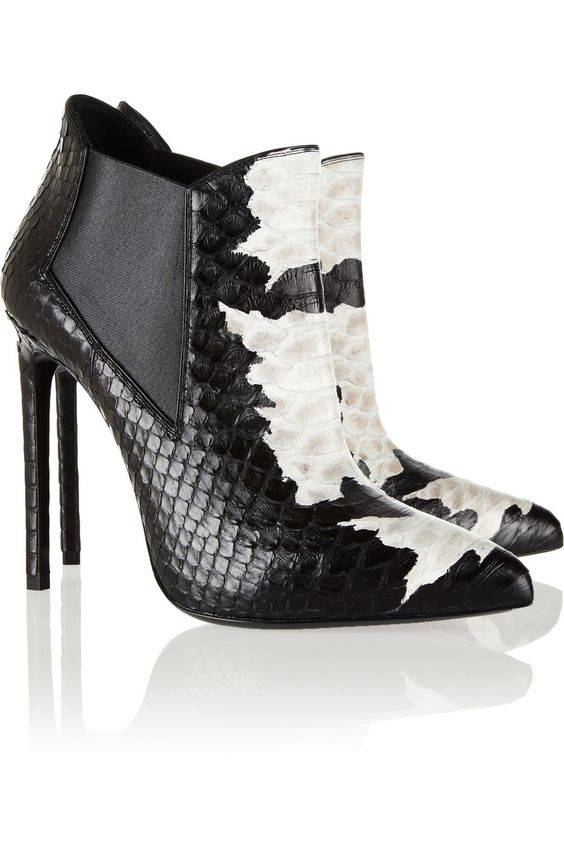 Saint Laurent|Paris two-tone python ankle boots