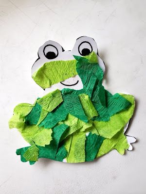 Learning About Colors Teaching Toddlers About Green Tearing Paper And Gluing Frog Craft For T Frog Crafts Preschool Teaching Toddlers Colors Frog Activities Color green crafts preschool