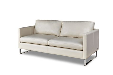 American Leather Milo This One S Straight And Narrow With Sleigh Legs In Chrome Whiteleatherso White Leather Sofas Small Scale Sofa Small Sofa