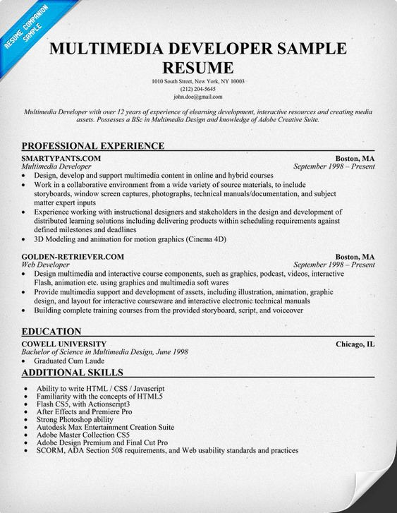 Multimedia Developer Resume Sample (resumecompanion) Resume - multimedia specialist sample resume