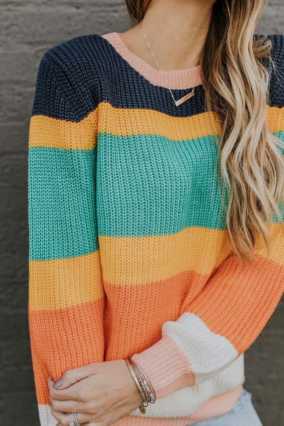 Outstanding Stripe Crew-Neck Sweater