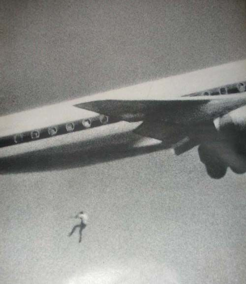 In February 1970, John Gilspin, an amateur photographer, was testing his new camera lens when he unwittingly caught Keith Sapsford's 200 foot plunge to death. Keith was a 14 year old Australian boy hoping to travel and see the world. He had hidden in the wheel housing of a Japan Air Lines Sydney-Tokyo jet. When the landing gear raised, he was pushed out into midair.: