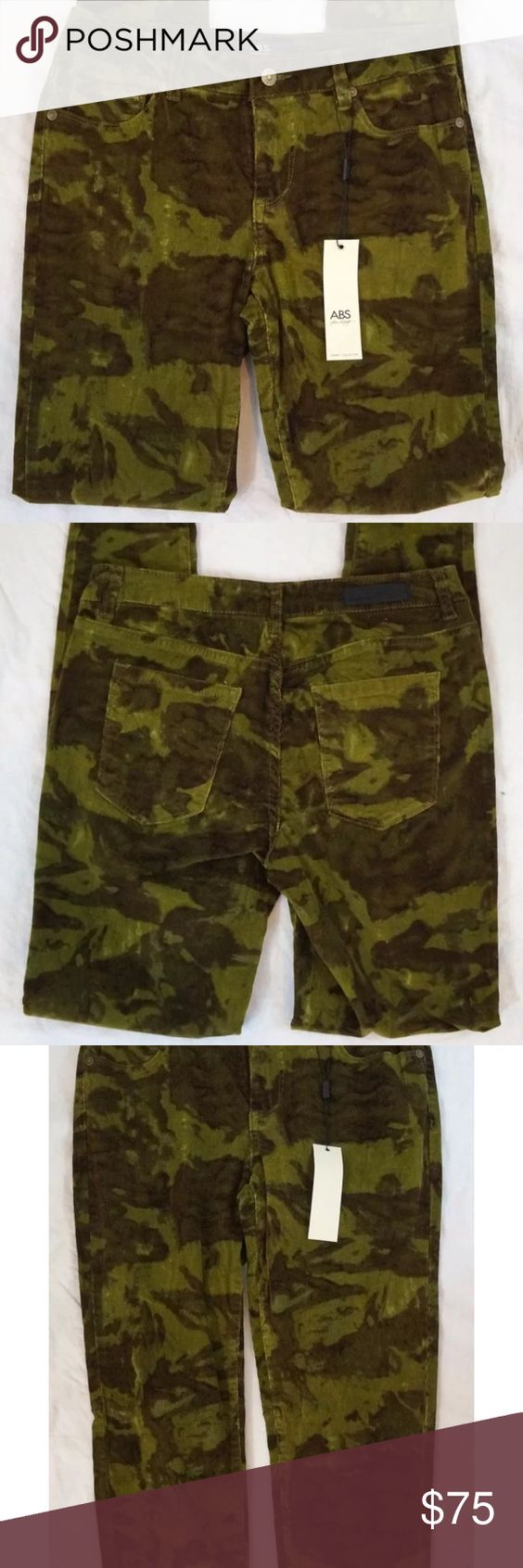 ABS anthro skinny leg camo corduroy pants sz 27 NWT | D, Abs and Pants