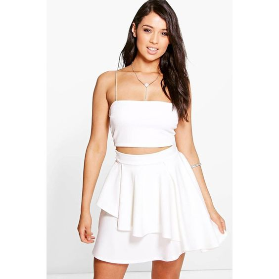 Boohoo Night Poppi Double Layer Full Skirt ($14) ❤ liked on Polyvore featuring skirts, ivory, evening skirts, party skirts, winter white skirt, midi skirt and layered skirt