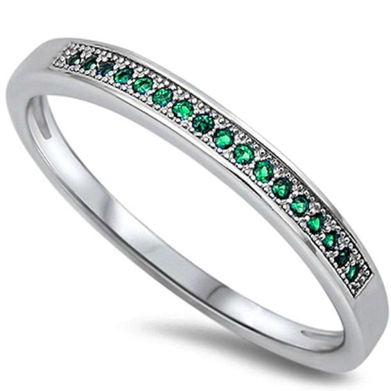 2.5mm Solid 925 Sterling Silver Wedding Engagement Band for Ring Half Eternity Round Cut Emerald Green CZ Band Ring New Design Round Square