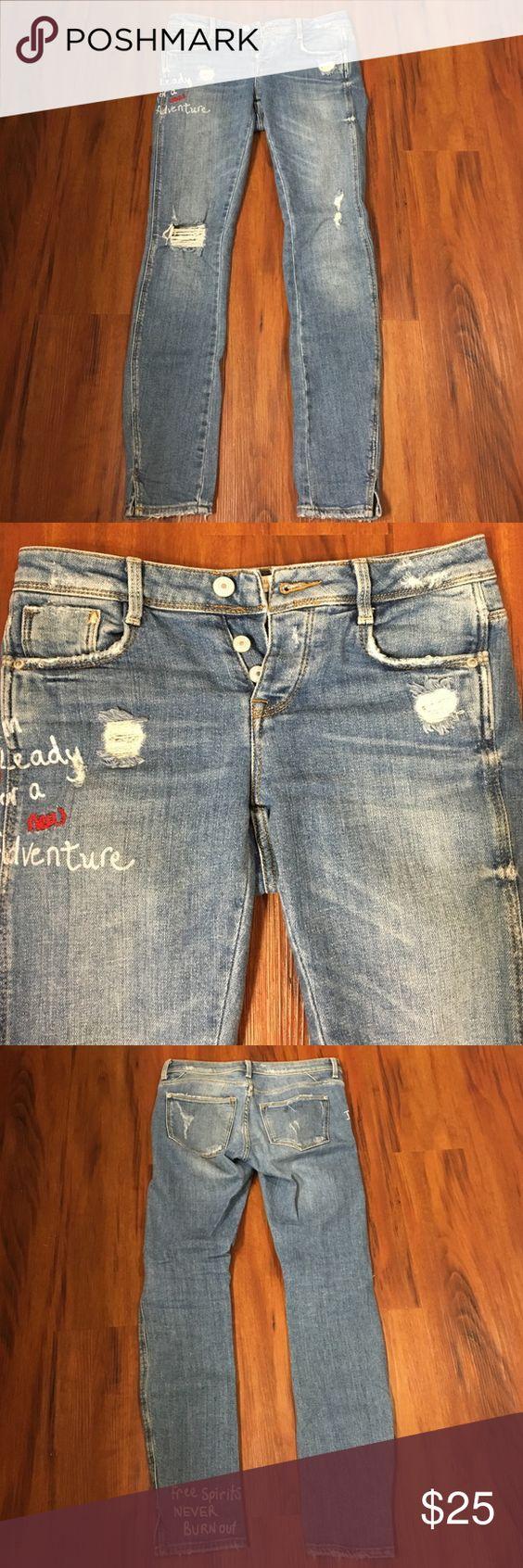 Zara jeans Zara/Trafakuc distressed jeans. Size 00. Worn a few times- great condition. Zara Jeans Skinny