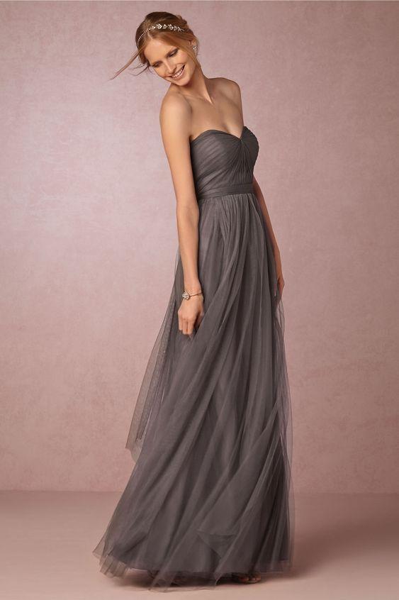 strapless dark grey bridesmaids dress | Annabelle Dress by Jenny Yoo for BHLDN