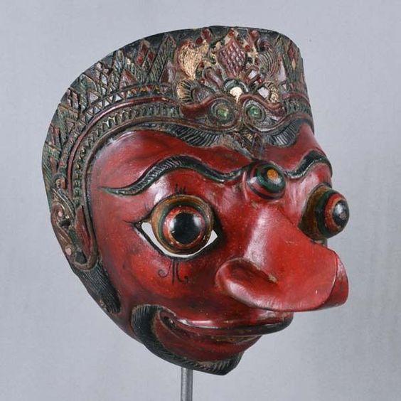Indonesia Unused Javanese Jawa Wayang Topeng Mask Maschera vintage ethnic pu72