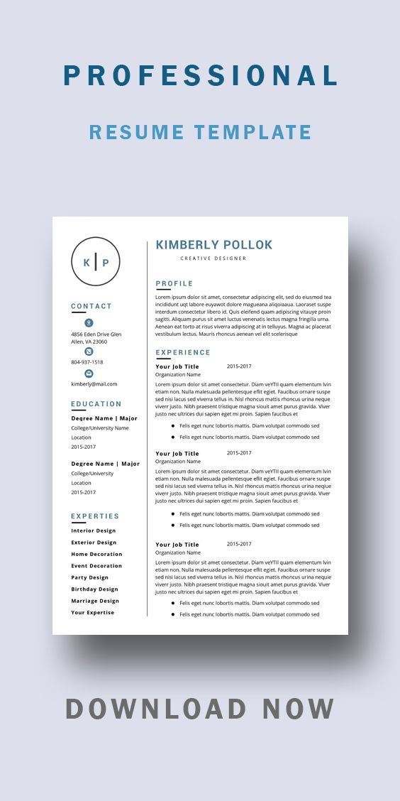 Resume Template Professional Resume Template Instant Etsy Resume Template Word Teacher Resume Template Resume Template Professional