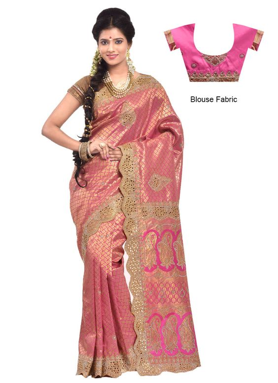 Pink Pure South Silk Saree