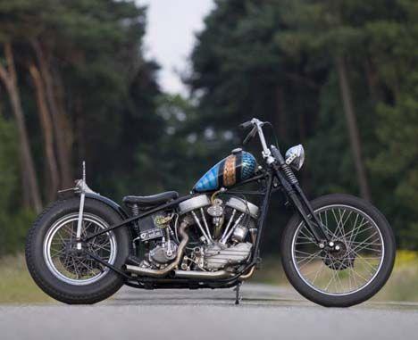 1948 Panhead Harley Davidson EL Oldschool Bobber by Maurice from the Netherlands.