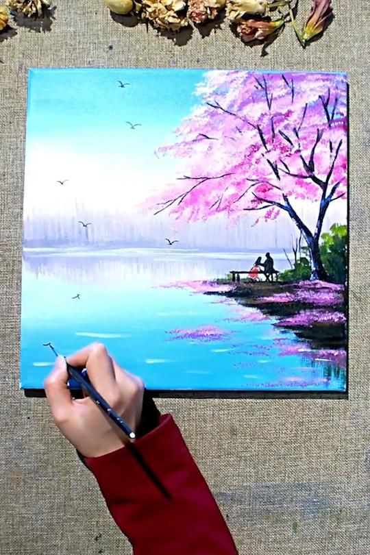 Acrylic Painting Of Spring Season Landscape Painting With Cherry Blossom Trees In 2021 Creative Painting Diy Canvas Art Painting Painting Art Projects
