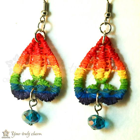 Rainbow lace earrings with sky blue beads by OrientalColour, $8.00