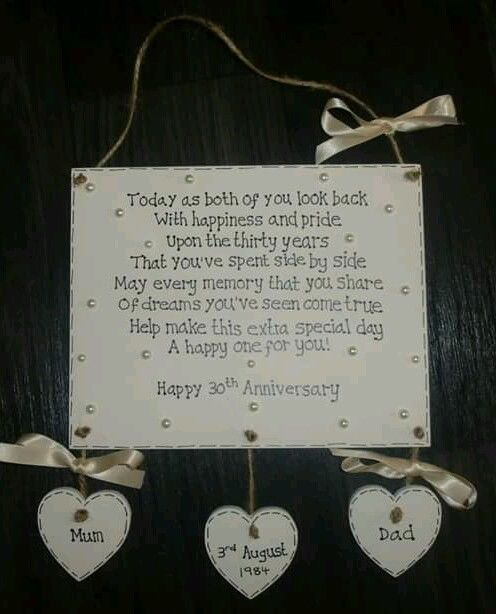 Pearl Wedding Anniversary Gift Ideas Uk : Pearl Wedding Anniversary Gift Plaque - 30 years Pearls, Wedding ...