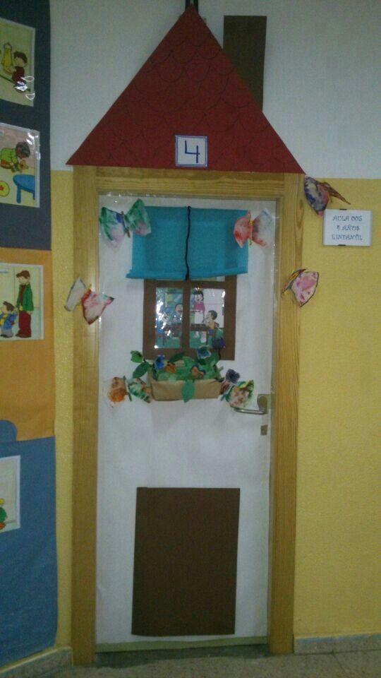 Decoracion de primavera de la puerta del aula-spring at school