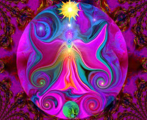 Chakra Angel Energy Art Reiki Abstract Art Print Sun Moon Earth