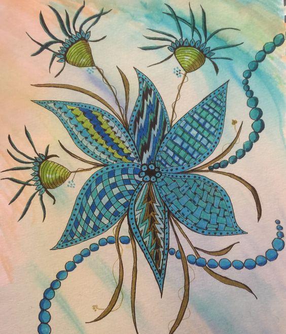 Fun Zentangle Inspired Art ZIAby Dena Bee Turquoise Blue Flowers