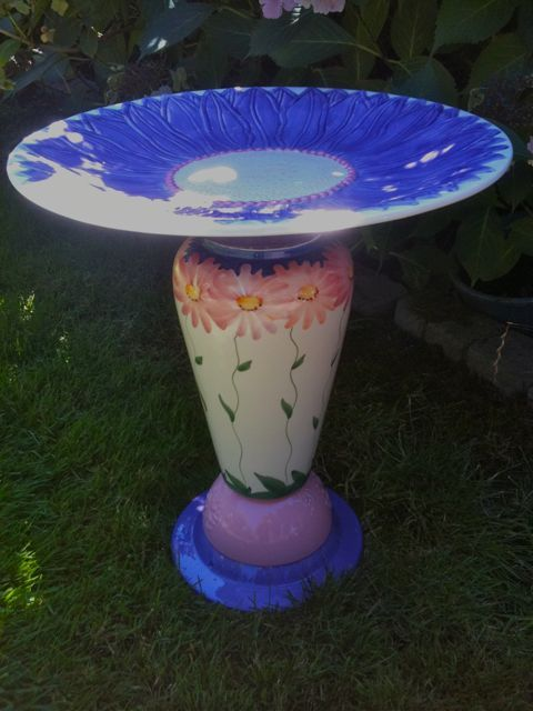 Diy birdbath from recycled materials by susan scovil for Diy from recycled materials