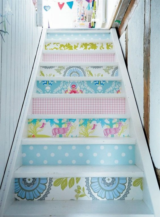 A home built for a creative family | IKEA Magazine Wallpapered stairs!