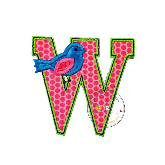 Letter w with song bird and black/green trim - iron on applique