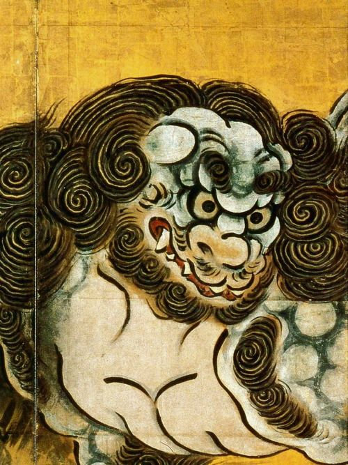 Kano Eitoku: 唐 狮子 図  Chinese Lions (16th century) Detail. Six-fold screen, color, ink and gold-leaf on paper.#JapaneseArt