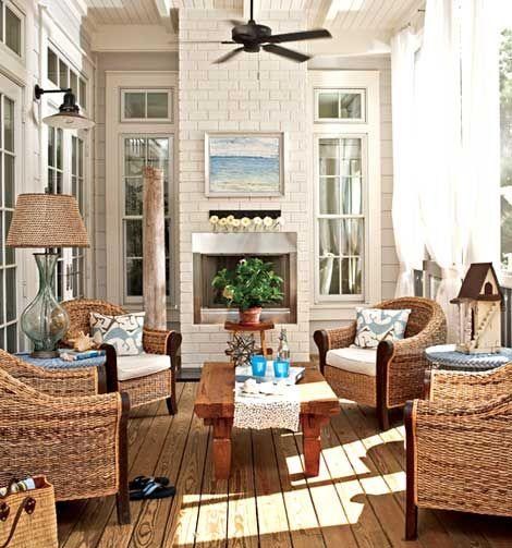 "Country Chic Farmhouse/Beach Cottage Porch.  Traditional Home Magazine, ""Kaleidoscope By the Sea,"" Interior decorator: Georgia Carlee, GCI Design"