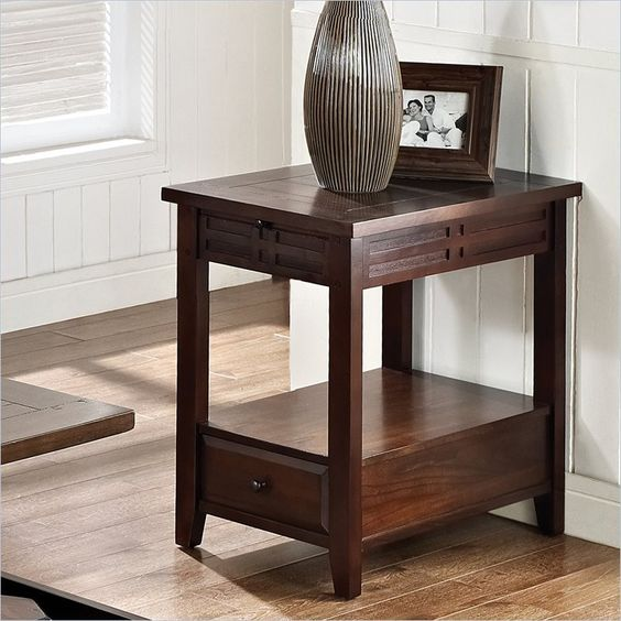 Crestline Chairside End Table in Distressed Walnut