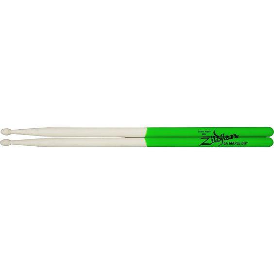 Zildjian Maple Green DIP Drumsticks 5A Wood Tip