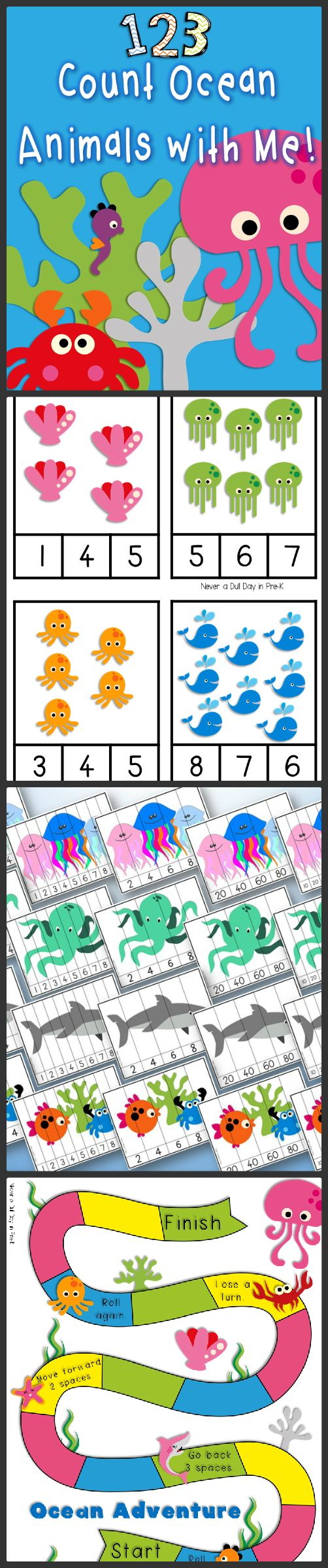 Colorful and engaging activities for practicing number recognition, counting, and 1:1 correspondence with a cute ocean animal theme! Follow me on TpT at https://www.teacherspayteachers.com/Store/Never-A-Dull-Day-In-Pre-k for freebies and other fun stuff!