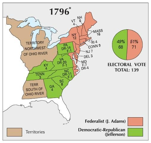 29 1796 presidential election map forming a union Pinterest