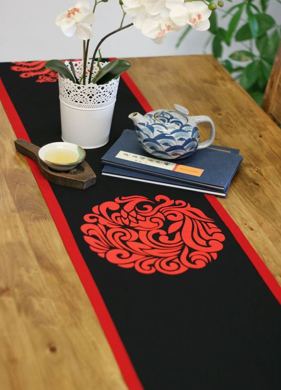 eco friendly asian style home decor linencotton black red phoenix potholder table
