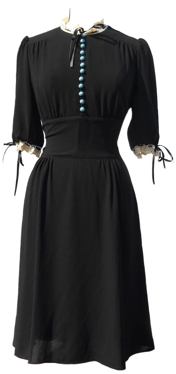 black crepe dress with crochet trim, late 30s style, Pearl Lowe for Peacocks.