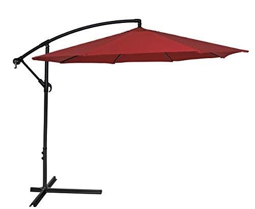 Hermo 108c2 Roun 10 Ft Outdoor Cantilever Patio Hanging Table Umbrella Red Patio Table Umbrella Cantilever Patio Umbrella