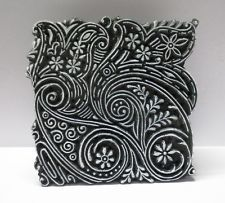 VINTAGE WOODEN HAND CARVED TEXTILE PRINTING ON FABRIC BLOCK STAMP UNIQUE DESIGN