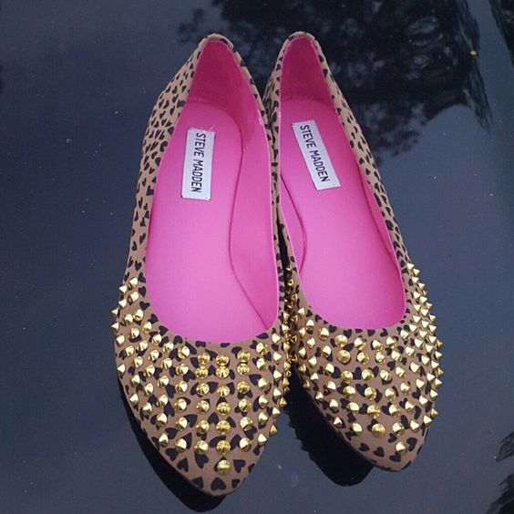 STEVE MADDEN Gold spike studded leopard flats Brand new. Never been worn. Steve Madden Shoes Flats & Loafers