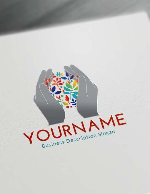 Free Online Logo Maker Human Hands Logo Creator Hand Logo Free Logo Logo Maker