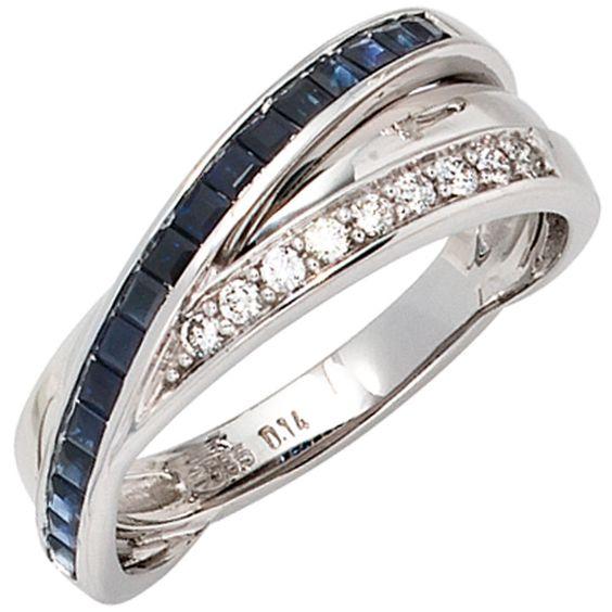 Damen Ring 585 Gold Weißgold Diamanten Brillanten 0,14ct. Safire blau A51141 56