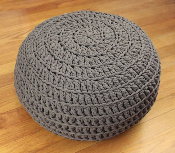 Free Crochet Pattern: POOF! Floor Pillow Pouf Ottoman Crochet Pinterest Floor cushions ...