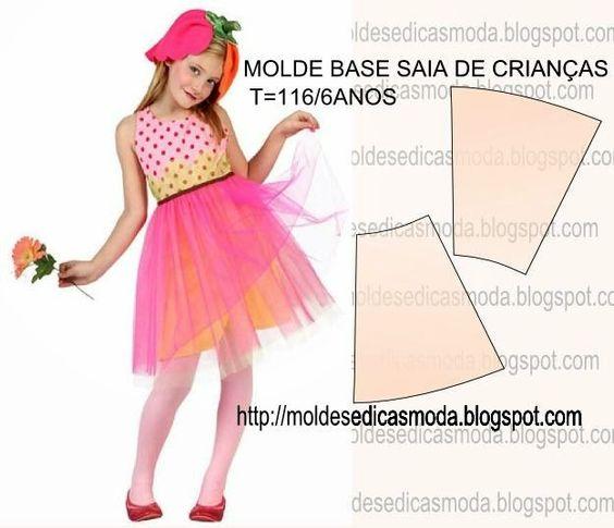 MOLDE BASE SAIA CRIANÇA TAMANHO 116/6 ANOS - Moldes Moda por Medida