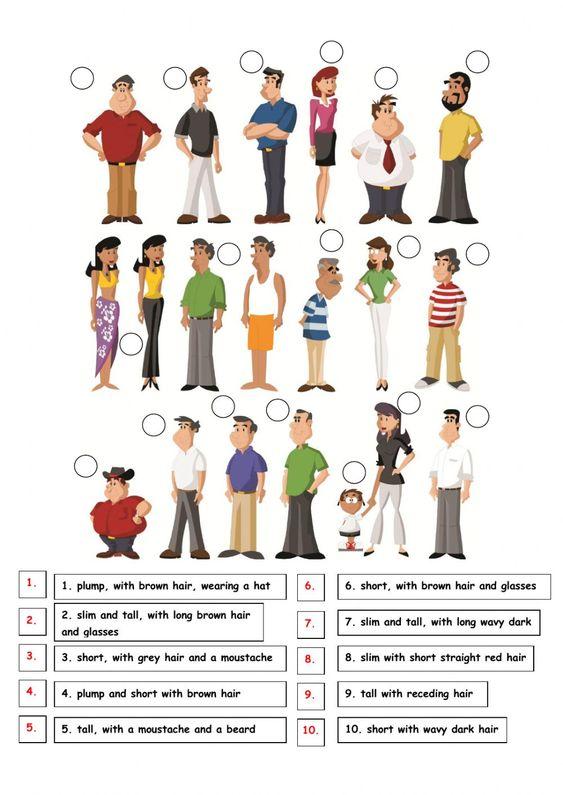 Describing people ficha interactiva y descargable. Puedes hacer los ejercicios online o descargar la ficha como pdf.