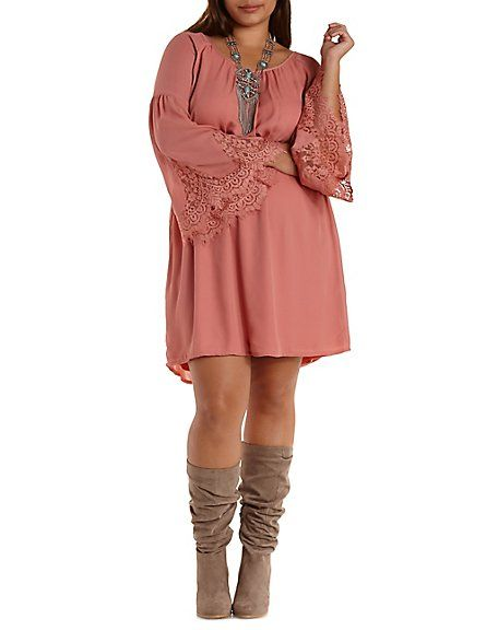 Bell sleeve dress plus size