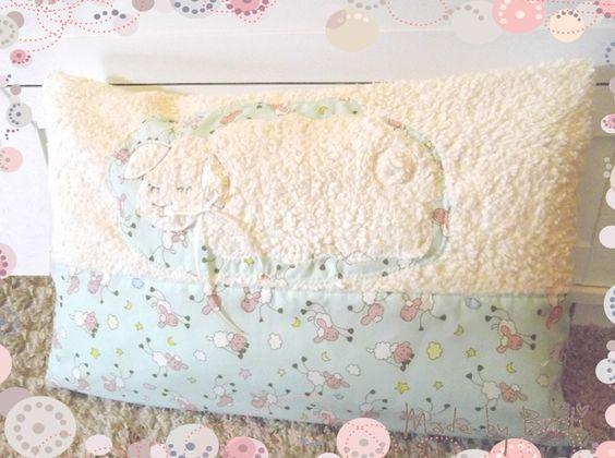 Kissen - Kissen Plüsch 60x40cm ♥ Schäfchen ♥ Kuschelkissen - ein Designerstück von Made-by-Britti bei DaWanda